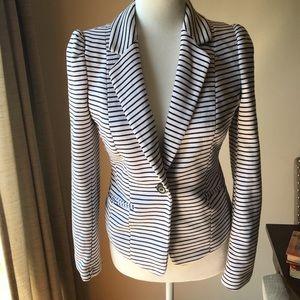 H&M nautical white and blue blazer size 8